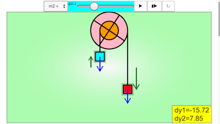 Turning Effects on a Pulley by Ropes with Masses Attached JavaScript