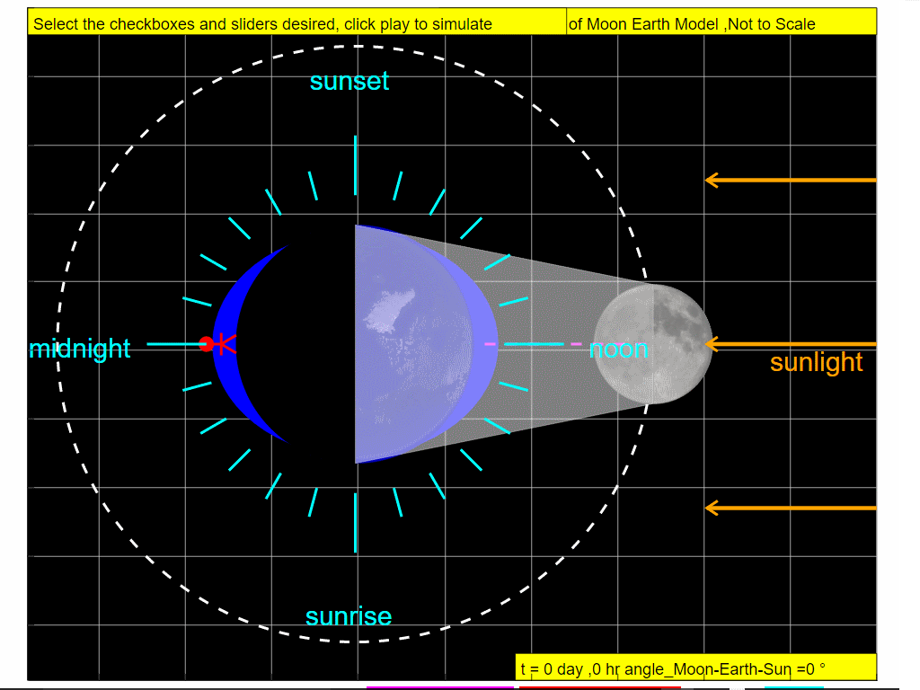 On Day 0, approximately twice a month, around new moon when the Sun, Moon, and Earth form a line (a condition known as syzygy), the tidal force due to the sun reinforces that due to the Moon